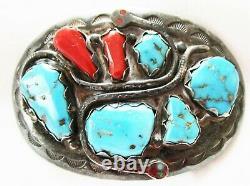 Early Effie C -zuni Turquoise, Oxblood Coral Sterling Belt Buckle Effie Calavaza