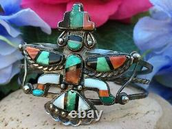 Early Exquisite Native American Zuni Turquoise Spiny Oyster Onyx Cuff Bracelet