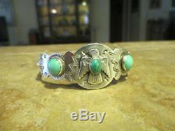 Early Fred Harvey Era Argent Turquoise Appliquée Thunderbird Tourbillonnage Log Bracelet