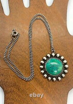 Early Fred Harvey Southwestern Navajo Sterling Silver Green Turquoise Collier