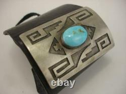 Early Hopi Bow Guard Ketoh Bracelet Cuir Turquoise Sterling Stone Silver Huge