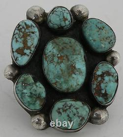 Early Huge Native American Navajo Sterling Argent Turquoise Vintage Cluster Ring