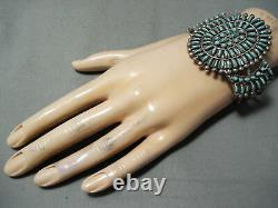 Early Huge Vintage Zuni Navajo Turquoise Sterling Silver Cluster Bracelet
