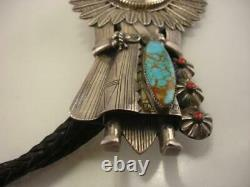Early Large Sterling Silver Turquoise Coral Sun Kachina Bolo Tie Etats-unis Made Navajo