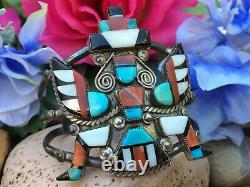 Early Monumental Native American Zuni Turquoise Spiny Oyster Onyx Cuff Bracelet