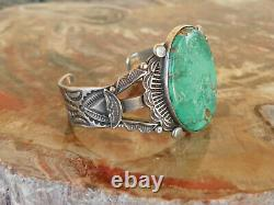 Early Morris Robbinson (1901-1984) Bracelet Sterling Silver & Turquoise 7 Pouces