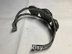 Early Native American 3 Stone Turquoise Sterling Cuff Bracelet