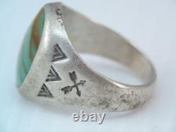 Early Native American Indian Bell Sterling Turquoise Ring Signe