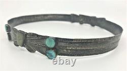 Early Native American Navajo Sterling Bande Chapeau Argent Vert Bleu Turquoise Grande