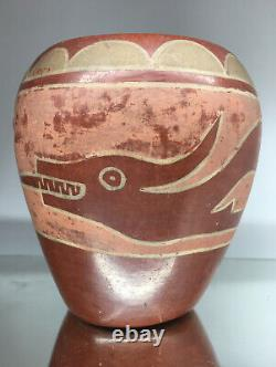Early Native American San Ildefonso Red Ware Pottery Avanyu Serpent Vase Vessel
