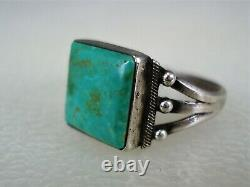 Early Navajo Argent Sterling & Square Turquoise Taille De La Bague 6,25
