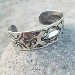 Early Navajo Fred Harvey Era Coin Argent Bracelet Cuff Whirling Logs Log