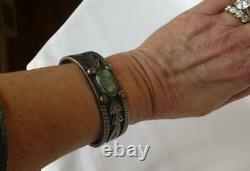 Early Navajo Old Pawn Lingot Argent Vert Turquoise Superposition Bracelet Fred Harvey