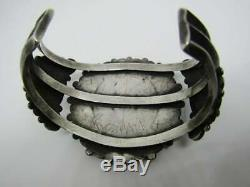 Early Old Pawn Zuni Turquoise Sterling Cluster Bracelet Signé Robert