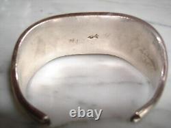 Early Pueblo Navajo Petit Point Heavy Silver Row Bracelet Manchette