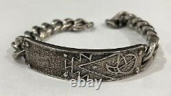 Early Rare Navajo Carl & Irene Clark Sterling Argent Tufa Cast Bracelet Native