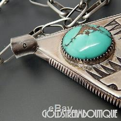 Early Ric Charlie Navajo Argent 925 Tufa Cast Turquoise Eagles Avec Chaine