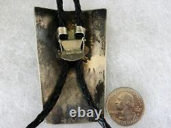Early, Signed, Chip Inlay Kachina Bolo Tie 3-1/8