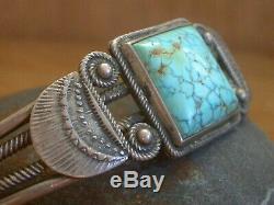 Early Southwest Indian Argent Spiderweb Pion Lingot Bracelet Turquoise Vieux