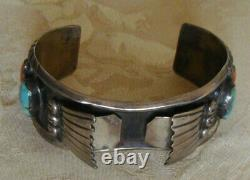 Early Sterling Coral & Turquoise Watch Cuff Bracelet Native American Signé Efl