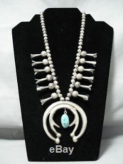 Early Superior Vintage Navajo Turquoise Sterling Silver Squash Blossom Collier