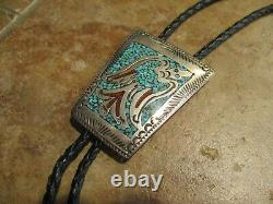 Early Tommy Singer (d.) Navajo Sterling Inlay Turquoise & Coral Chip Bolo Tie