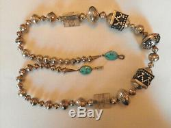 Early Tommy Thomas Singer (1940-2014) Sterling Squash Blossom Collier 145g