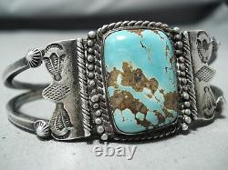 Early Vintage Navajo 8 Turquoise Sterling Silver Bracelet