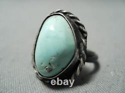 Early Vintage Navajo Bleu Clair Turquoise Sterling Silver Ring