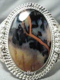 Early Vintage Navajo Bois Pétrifié En Argent Sterling Bracelet Vieux