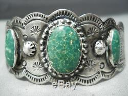 Early Vintage Navajo Cerrillos Turquoise Bracelet En Argent Sterling Tooled Main