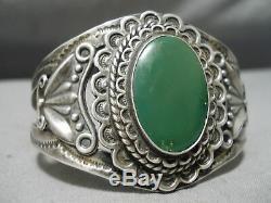 Early Vintage Navajo Cerrillos Turquoise En Argent Sterling Bracelet Manchette Vieux