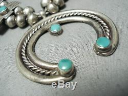 Early Vintage Navajo Cerrillos Turquoise En Argent Sterling Squash Blossom Collier