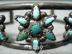 Early Vintage Navajo Cerrillos Turquoise Sterling Silver Bracelet