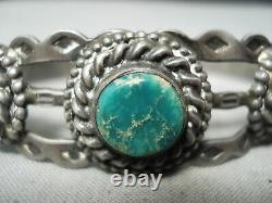 Early Vintage Navajo Cerrillos Turquoise Sterling Silver Bracelet Vieux