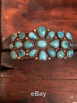 Early Vintage Navajo En Argent Sterling Turquoise Cluster Bracelet-ca. 1930 66,2 G