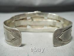 Early Vintage Navajo High Grade Carico Lac Turquoise Bracelet En Argent Sterling