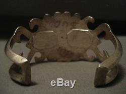 Early Vintage Navajo Naturel Bisbee Turquoise Bracelet Argent