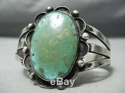 Early Vintage Navajo Royston Turquoise Bracelet En Argent Sterling Vieux