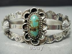 Early Vintage Navajo Royston Turquoise Sterling Silver Bracelet Vieux