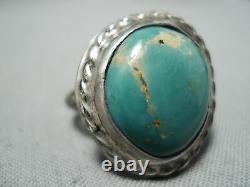 Early Vintage Navajo Royston Turquoise Sterling Silver Ring Vieux