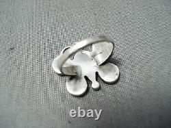 Early Vintage Navajo Snake Yeux Turquoise Corail Sterling Silver Butterfly Ring