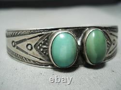 Early Vintage Navajo Très Vieux Bracelet Vert Turquoise Sterling Argent