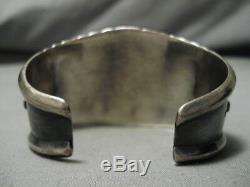 Early Vintage Navajo Turquoise Bracelet En Argent Sterling Amérindien