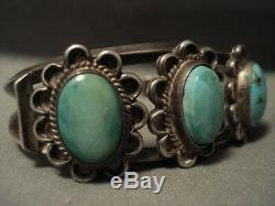 Early Vintage Navajo Turquoise Flower Bracelet En Argent Vieux