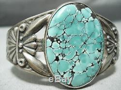 Early Vintage Navajo Vert Spiderweb Turquoise Bracelet En Argent Sterling Vieux