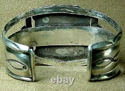 Early Vintage Old Pawn Navajo En Argent Sterling Grand Bisbee Turquoise Bracelet
