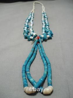 Early Vintage Santo Domingo Navajo Vintage Turquoise Jacla Collier Vieux