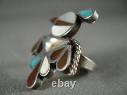 Early Vintage Zuni Oiseau Turquoise Bague En Argent