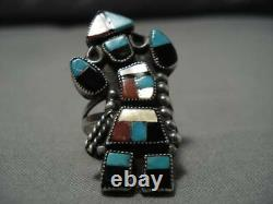Early Vintage Zuni Turquoise Coral Sterling Silver Inlay Kachina Ring Old